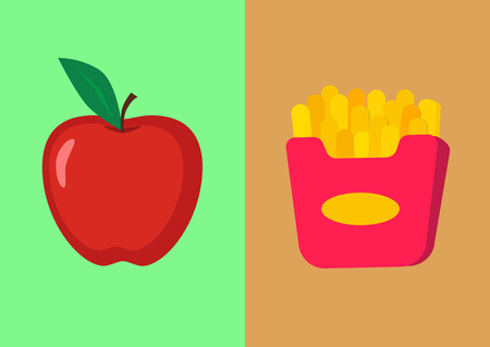Double image. Red juicy apple and french fries. The concept of healthy and harmful food.