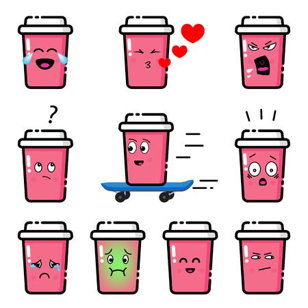 Emojis set. Pink cup with different emotions. Standard-Bild - 121823738