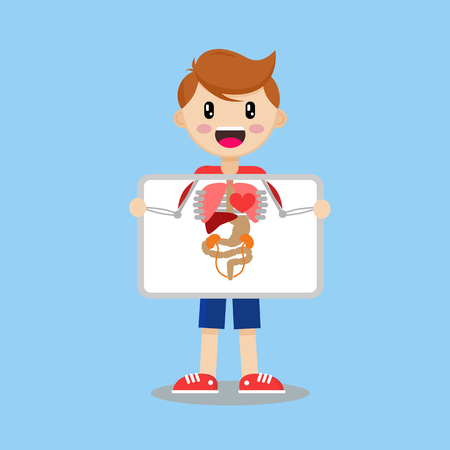 Boy with X-ray. Illustration