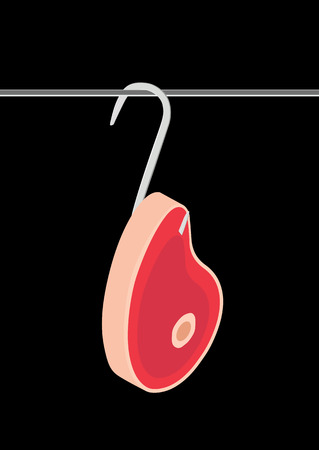 Piece of meat hanging on a hook on a black background