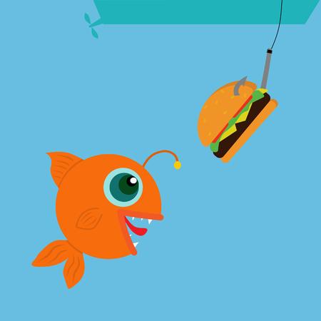 Funny fish looks at the hamburger. Fishing for a hamburger.