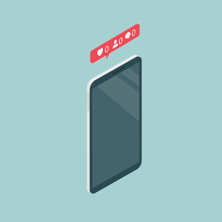 Vertical image of the phone in isometric view. Notification of the absence of likes, comments and subscribers