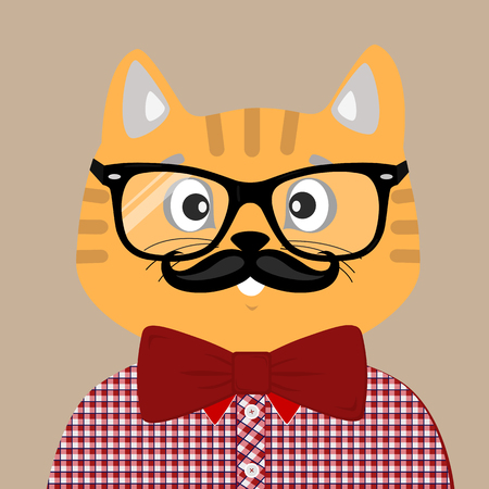 Portrait of a cute hipster cat with glasses and plaid shirt