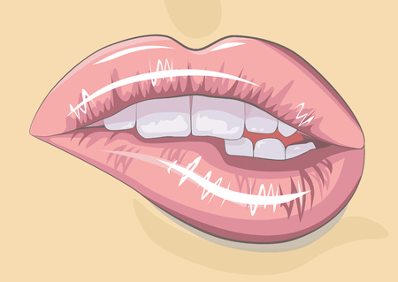 Sexy biting lips. Standard-Bild - 104828016