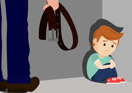 An adult with a belt stands over a defenseless child. Concept: domestic violence, violence against children, beatings. Stock Illustratie