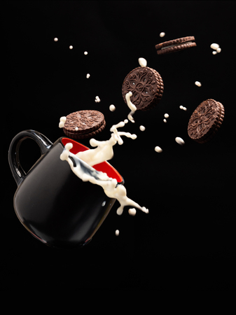 flying chocolate cookies and splashes of milk