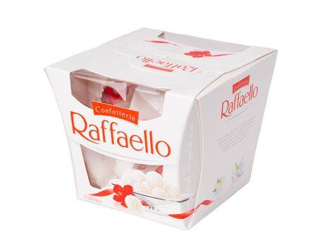 KHABAROVSK, RUSSIA - JUNE 28, 2018: Square box of sweets Rafaello - Crispy coconut with whole almond. Produced by the Italian company Ferrero.