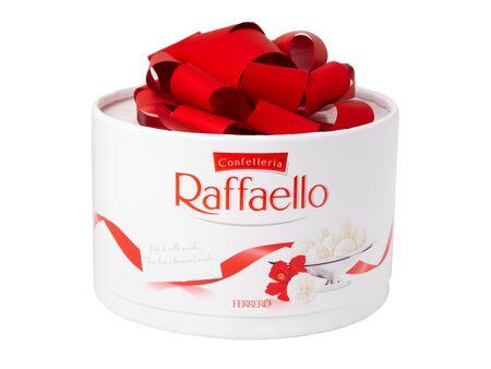 KHABAROVSK, RUSSIA - JUNE 28, 2018: Box of Raffaello sweets - Crispy coconut with whole almond. Produced by the Italian company Ferrero. Editorial