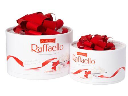 KHABAROVSK, RUSSIA - JUNE 28, 2018: Two boxes of Raffaello sweets - Crispy coconut with whole almond. Produced by the Italian company Ferrero.