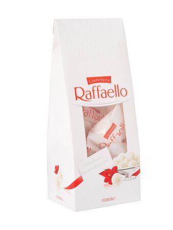 KHABAROVSK, RUSSIA - JUNE 28, 2018: A pack of Raffaello sweets - Crispy coconut with whole almond. Produced by the Italian company Ferrero.