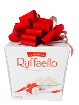 KHABAROVSK, RUSSIA - JUNE 28, 2018: Large box of Raffaello sweets - Crispy coconut with whole almond. Produced by the Italian company Ferrero.