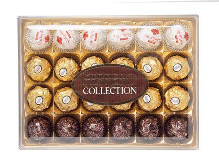 KHABAROVSK, RUSSIA - JUNE 28, 2018: Big plastic Box of sweets Ferrero collection. Rafaello, Rocher Editorial