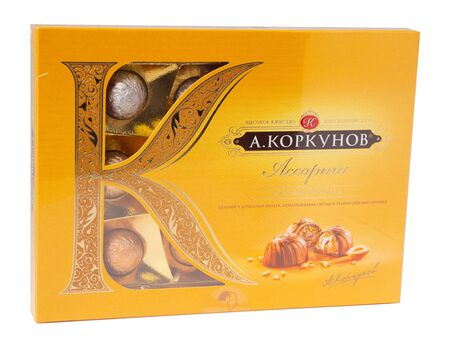 KHABAROVSK, RUSSIA - JUNE 28, 2018: Russian Sweets A. Korkunov - Candies made from milk chocolate with whole Piedmont hazelnut in light cream.