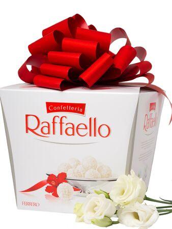 KHABAROVSK, RUSSIA - JUNE 28, 2018: Big Box of Raffaello sweets - Crispy coconut with whole almond. Produced by the Italian company Ferrero.