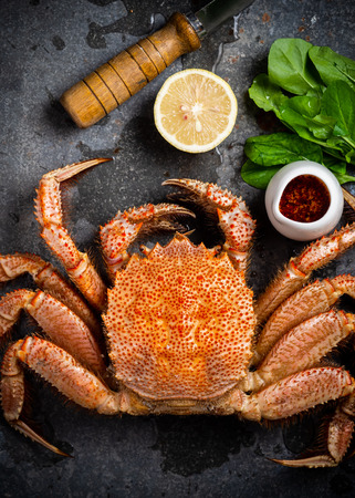 Whole boiled crab on a metal surface. Vertical. Standard-Bild - 117117601