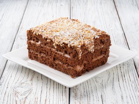 Piece of chocolate cake Standard-Bild - 122315700