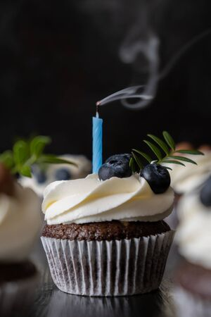 Chocolate cupcake with a puffed candle. Smoke from the candle. Vertical