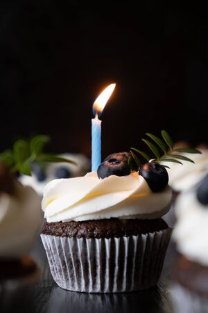 chocolate cupcake with white cream and berries with a burning candle. Vertical photo/ Standard-Bild - 131391188