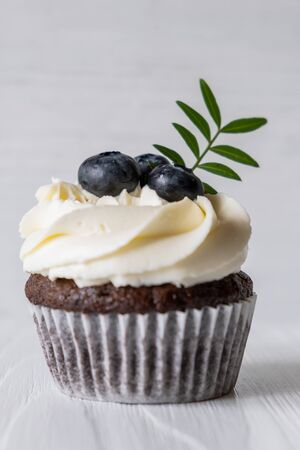 Chocolate cupcake with delicate cream and blueberries