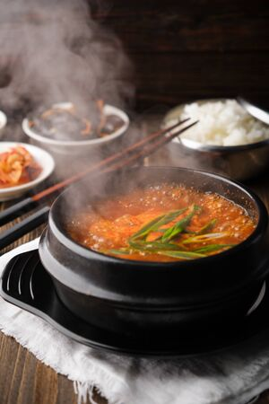 Very hot spicy korean soup yukgaejang gukbap is korea traditional soup with beef.
