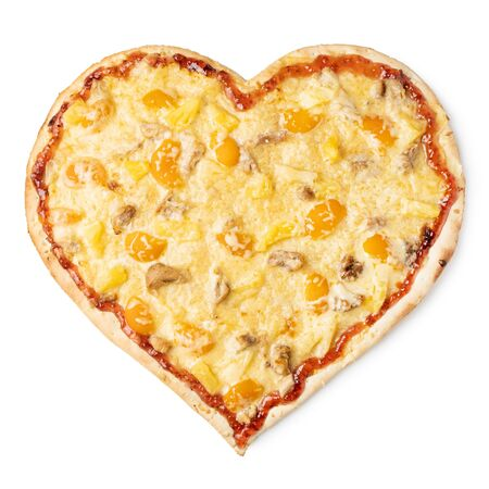 Fruit pizza in the form of a heart on a white background. Isolate