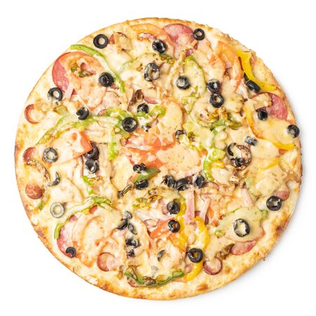 Tasty pizza with sausage, bell pepper, black olives and cheese on a white background