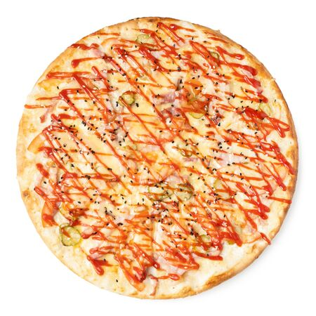 Tasty pizza with light-salted cucumbers, cheese and red sauce on a white plate