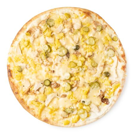 Tasty pizza with salted cucumbers and cheese on a white background