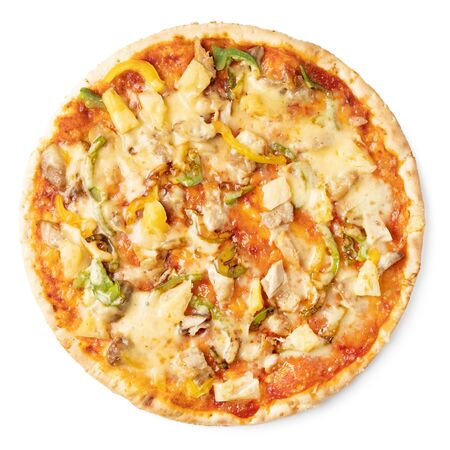 Tasty pizza with red sauce on a white plate