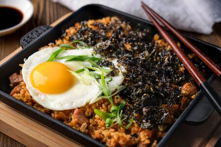 Fried rice with meat, egg and laver Standard-Bild