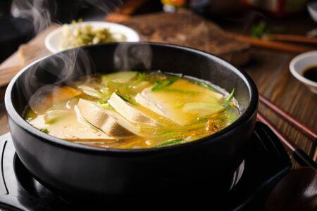 Hot korean tofu soup (tubu) Standard-Bild