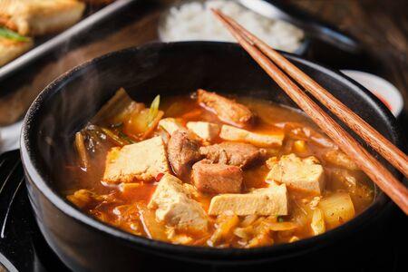 Korean beef tofu and kimchi soup