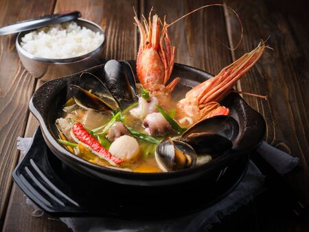 Korean sea soup (hemultan) with halibut, shrimp, mussels and young octopuses