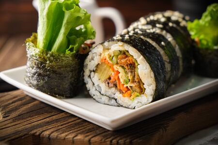 Kimbup or Gimbup is an Traditional South Korean Foods. A Korean Sushi Rolls is one simply and delicious menu.