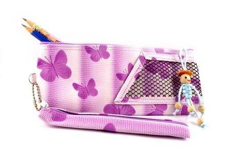 pencil-case from a matter and a toy for handles and pencils Stock Photo