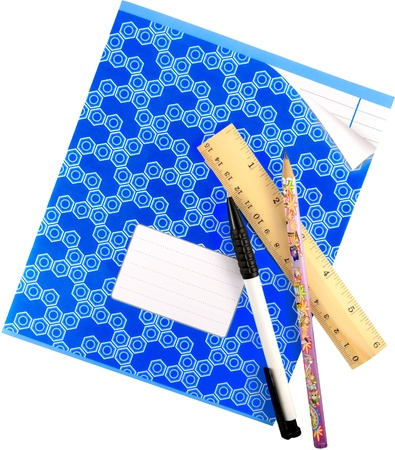 School notebook with pen, pencil and wooden ruler