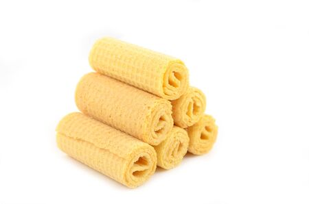 Dairy crispy wafer rolls without filling close-up Stock Photo - 15778256