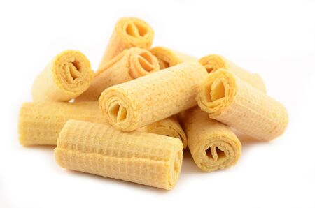 Dairy crispy wafer rolls without filling close-up Stock Photo - 15778261