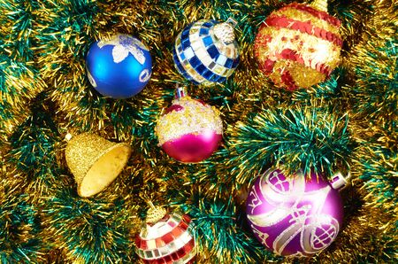 Hill colorful ornaments for New Year holiday Stock Photo