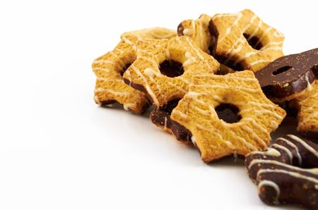 Shortbread cookies with milk or chocolate glaze on a white background Stock Photo - 16686334