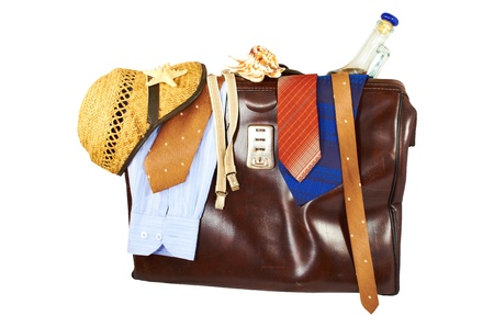 Suitcase with clothes for men isolated on white background Stock Photo - 16752587
