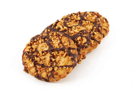 Cookies with peanuts on a white background of isolation