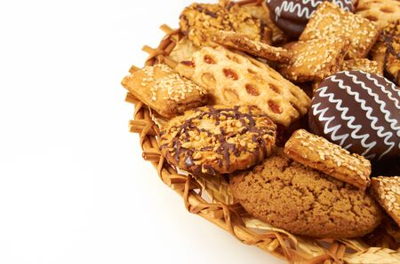 A handful of different cookies on white background Stock Photo