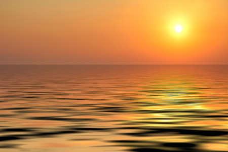 The sunset on the sea coast in Greece photo