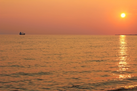 The sunset on the sea coast  photo