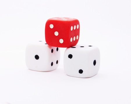 Dice.Three-dimensional gaming dice on a white background Stock Photo