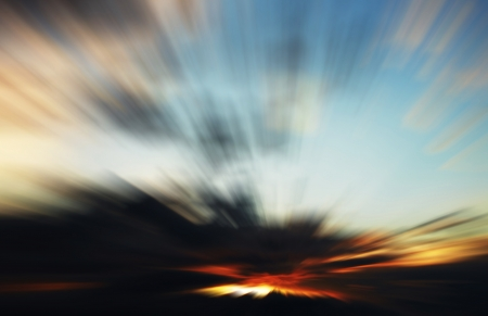Sunset with artificially created movement