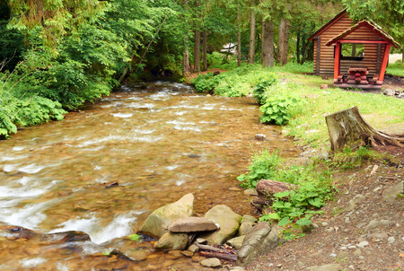 Swift mountain river in a picturesque forest Stock Photo