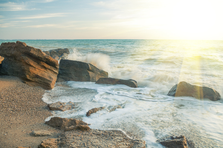 Stony shore of the Black Sea on a sunny day