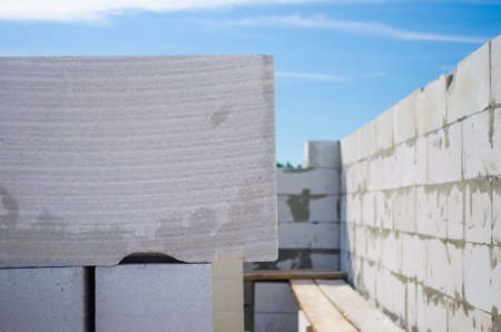 The construction of the house wall of aerocrete Stock Photo